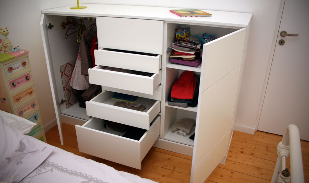 meuble de rangement laqu blanc pour chambre d enfant atelier bois cr ation beno t lapasset. Black Bedroom Furniture Sets. Home Design Ideas