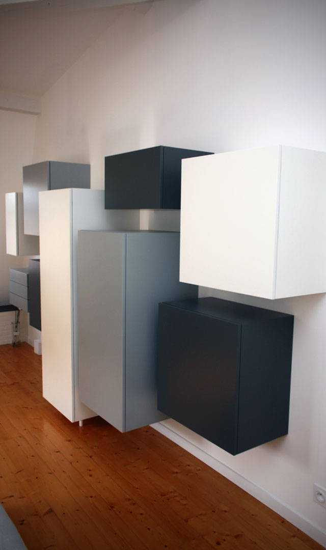 dressing laqu blanc gris et noir atelier bois cr ation beno t lapasset. Black Bedroom Furniture Sets. Home Design Ideas
