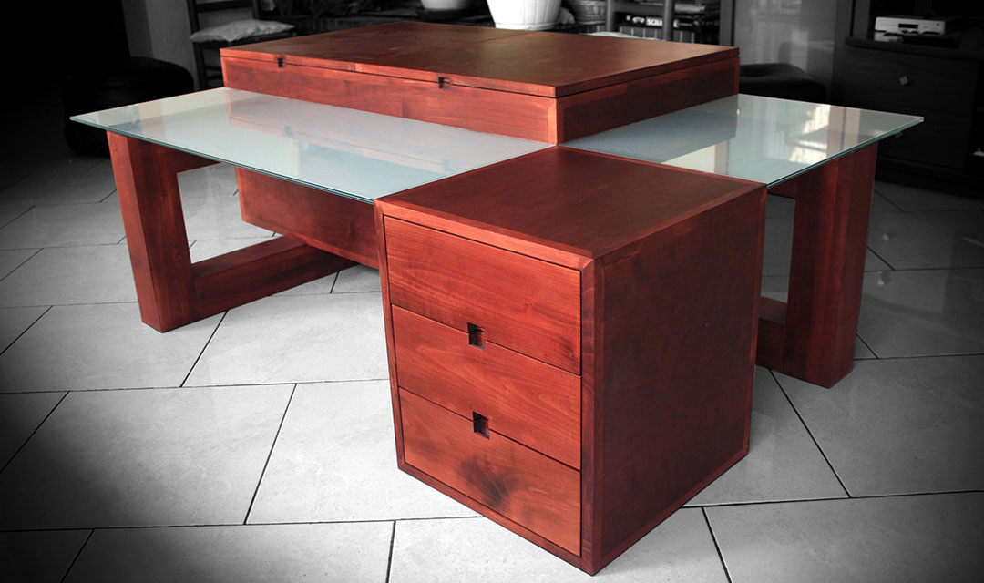 Table basse en merisier et verre sabl atelier bois cr ation beno t lapasset - Creation table basse ...