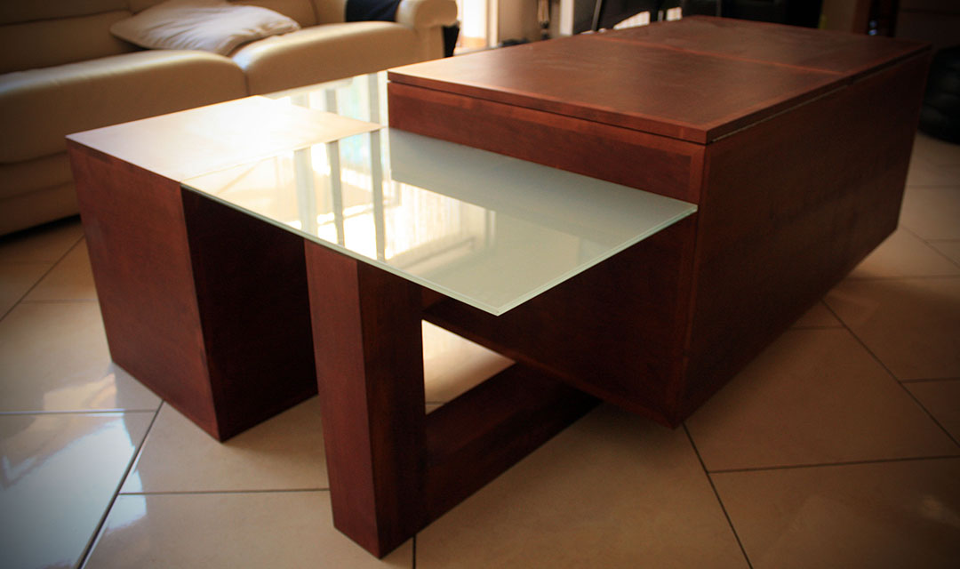 Table basse en merisier et verre sabl atelier bois - Creation table basse ...