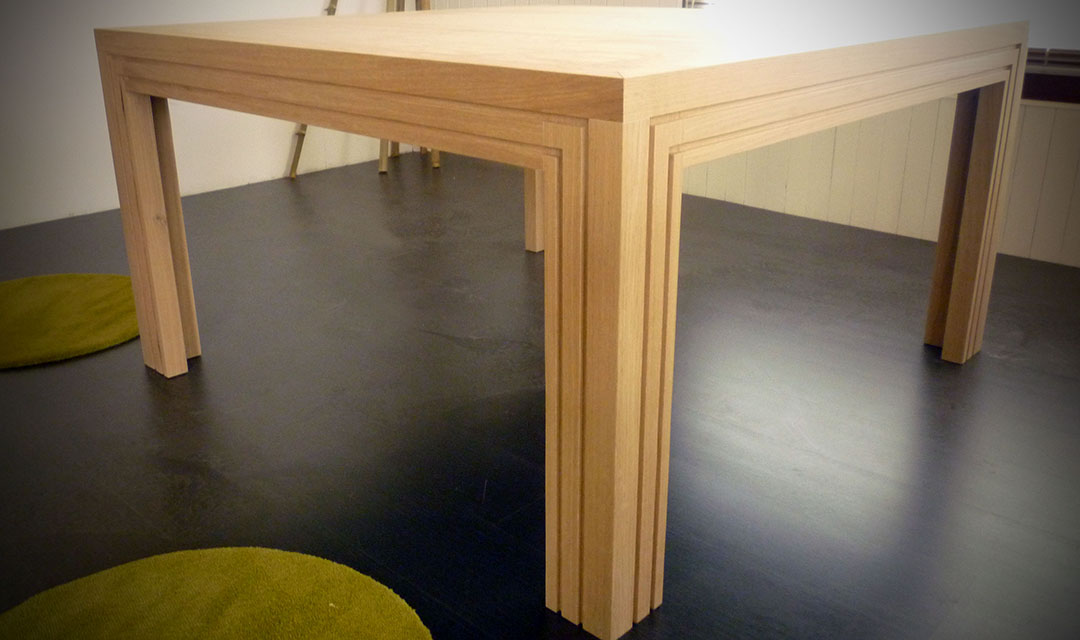 Table carr e en ch ne naturel atelier bois cr ation - Table carree extensible bois ...